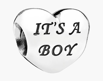 Heart Shaped, Its A Boy, European Charm Bead For All Large Hole Charm Bracelet And Necklace Chain. Family Collection