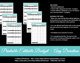 Budget Planner Printable Editable Monthly Budget (or any duration) blank categorised Finance Printable PDF Household Binder money management