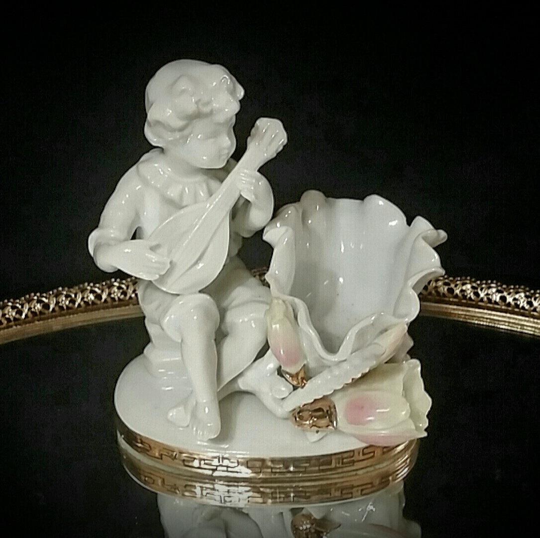 White Porcelain Trinket Dish Holder Cherub Figurine Soapdish