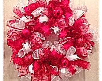 Christmas Deco Mesh Wreath/Christmas Wreath/Red and White Christmas Wreath/Christmas Red and White Deco Mesh Wreath