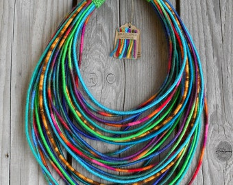 HOLI yarn-wrapped necklace / tribal / hippie / bohemian / colorful / thread / rainbow / India