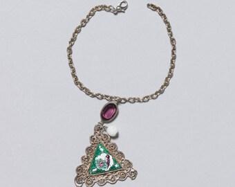 bracelet made of vintage chains & vintage pendants, unique