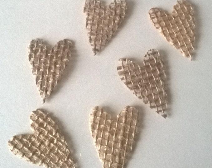 60 Handmade Hearts, Small and Large, Embellishment , Wedding Decor, Craft Project, Hearts, Burlap Hearts