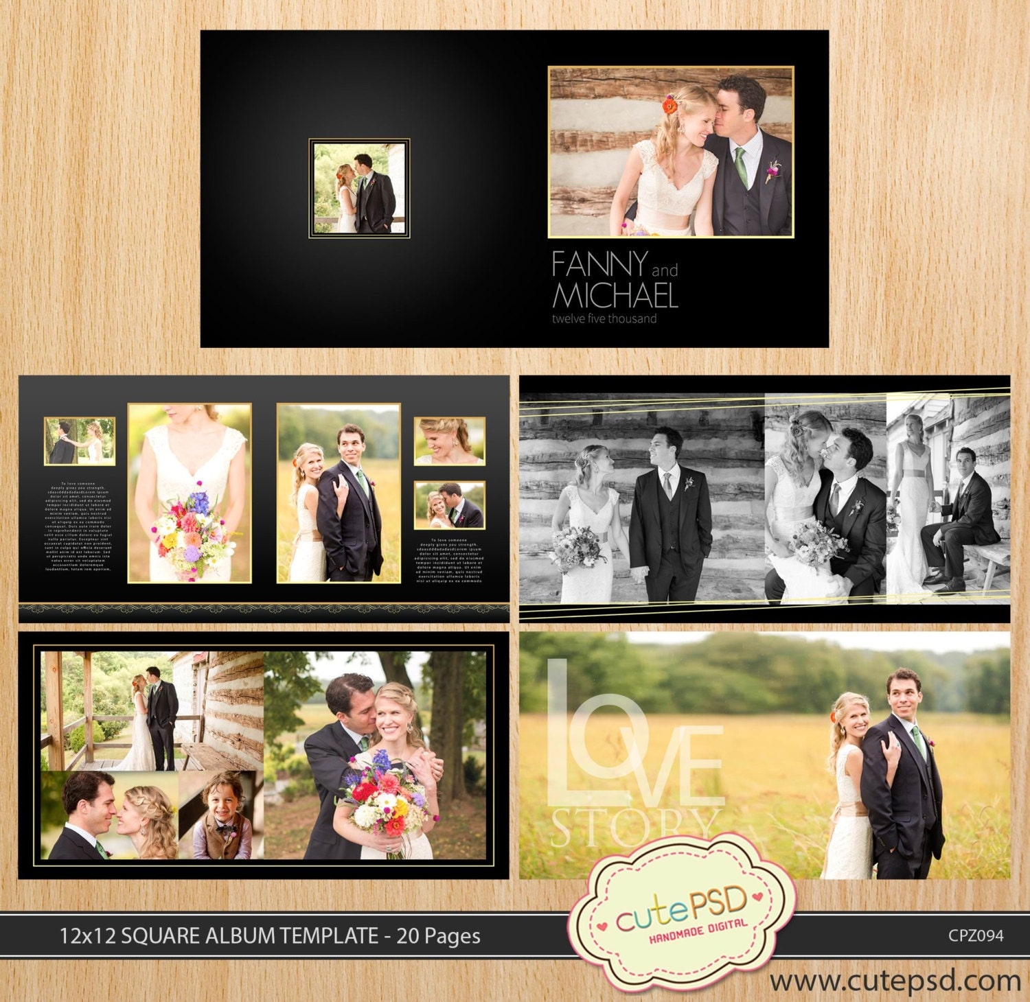 12x12 square wedding album template 20 pages dark gold. Black Bedroom Furniture Sets. Home Design Ideas