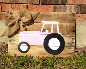 Hand painted girls tractor pallet sign