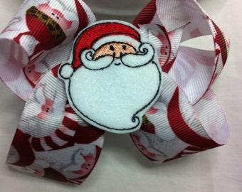 Christmas Santa Felty Hair bow. Christmas Santa felty Boutique hair bow  clip headband.