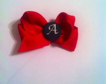 Monogrammed button bow Christmas baby