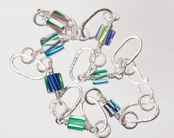 Sterling-Silver Hammered Chain Necklace with David Christensen Blue/Green Cane Glass Beads