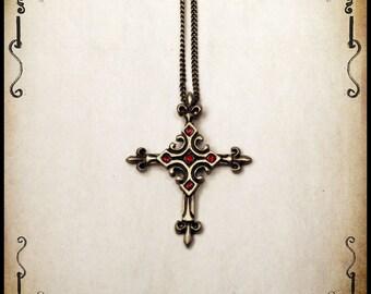 Medieval Urien Cross pendant jewelry - Handmade medieval necklace with swarovski