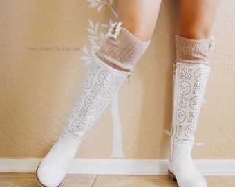 Beautiful lacy beige leg warmers,Cute beige lacy leg warmers,Birthday gift for her. boots long cuffs with cute lace,women Leg warmers,