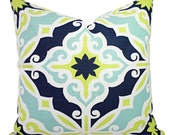 Two Decorative PIllow Covers - Green Blue Pillows - Green Pillow - Blue Pillow Sham - Navy Throw Pillow - Blue Pillow - Lime Green Pillows