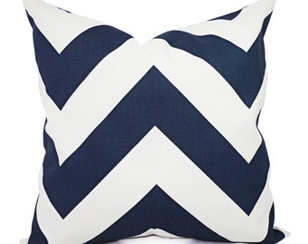 Two Navy Blue Pillow Covers - Two Navy Chevron Throw Pillow Covers - Chevron Pillow - Navy Accent Pillows - Decorative Pillow
