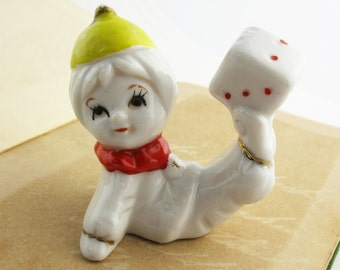 Vintage Clown Boy With Cap and Dice Figurine, Balancing Act Clown Collectable, Gymnastic Circus Acrobat Performer