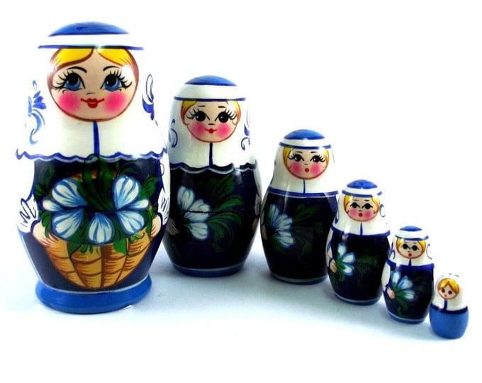 Nesting doll 6 psc Galanthus. Russian matryoshka. The original birthday gift.