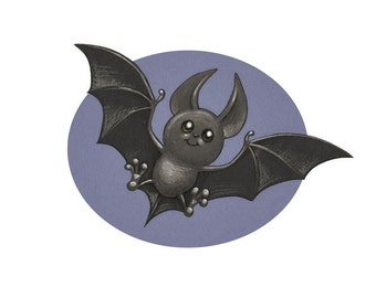 Baby Bat Fine Art Print, 11 x 8.5 inches Design and Illustration by C. Spliedt