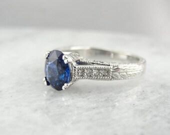 Gorgeous Ceylon Sapphire And White Gold Engagement Ring YC15VM-P