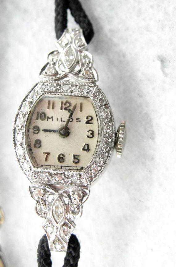 76e2b28054c Antique Platinum and Diamond Ladies Wrist Watch Milos Savoy Company