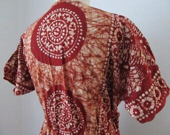 Boho Caftan Batik 70's 80's Maxi Dress Hand Made Festival Drawstring At Waist