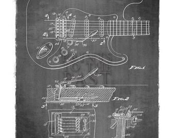 Fender Stratocaster Guitar Patent Print, 1956