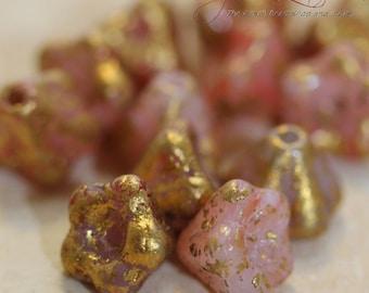 Czech Glass Flower Beads 6mm - Pink with Golden Rain (1594)