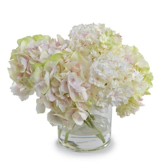 Silk blush pink hydrangeas arrangement centerpiece large