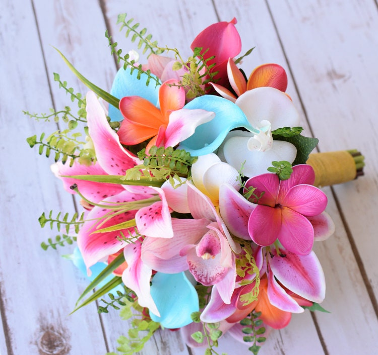 Coral And Pink Wedding Flowers: Wedding Hot Pink Coral And Turquoise Aqua Natural Touch