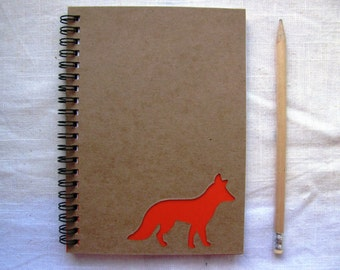 Fox Peek-a-boo- 5 x 7 journal- Your choice Peek a boo color