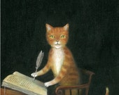 """Fine Art Print of an Original Animal Painting: """"The Book-Keeper (after Rembrandt's 'Young Man at His Desk,' 1631)"""""""