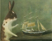 "Fine Art Print of an Original Animal Painting: ""Inspecting the Pequod"""