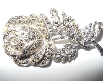 Vintage MARCASITE ROSE BROOCH Large Lovely Unsigned Beauty