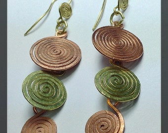 spiral earrings copper and Bronce 'eternity'