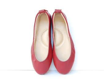 Leather ballerina flat shoes cherry red custom made