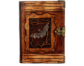 Bat Pendant On A Brown Leather Journal / Notebook / Diary / Sketchbook / Leatherbound