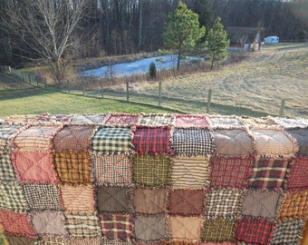 Primitive Rustic Reversible Homespun Rag Quilt!!!! From Twin to King Size!!!!  Made To Order Just For You !!!