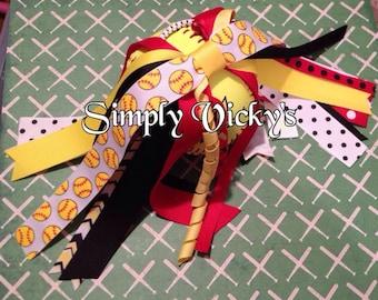 Softball Ponytail bow