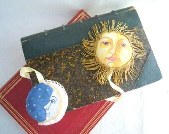Handmade Cloth Bookmark, Sun/Moon Handpainted Bookmark, Orignal Soft Bookmark, Early 1800 Illustrations, One In Stock.