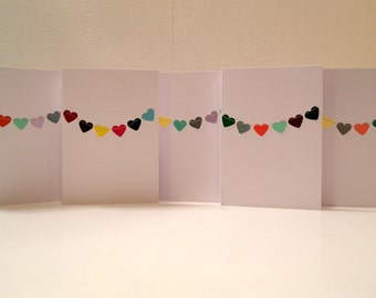 Pack of 5 Heart Bunting Cards / Notelets