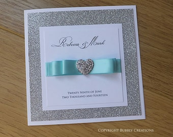 Glitter, Sparkly, wedding invitation, day and evening wedding invite with diamante heart, Silver and Aqua stationery - SAMPLE