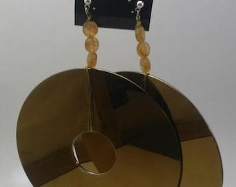 Computer hard drive platter earrings