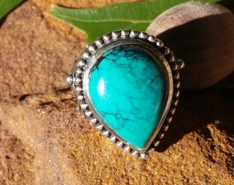 Vintage Hallmarked dP925 India Turquoise and Sterling Ring size 7
