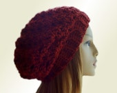 Chunky Hat Dark Red Slouchy Beanie Hat Reddish Brown Crochet Hat Knit Slouchie Beany Wool Slouch Womens Hats Knit Winter Hat Redwood