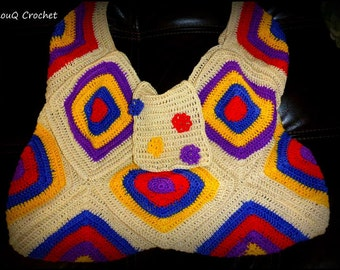 Crocheted shoulder bag hand made from 100% Egyptian cotton