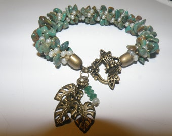 Kumihimo Bracelet in Hubei Turquoise with Faceted Emeralds