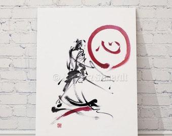 Samurai poster samurai sword logo design samurai costume japanese art japan decall japan poster sumi-e calligraphy ink samurai helmet