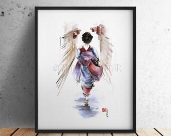 GEISHA, Kimono, asian art, geisha art, geisha print, asian woman, geisha watercolor, geisha print