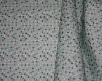 Fabric Sale aqua 1 yard Blue DOTS RAINING RAINBOWS by Angela Rekucki for Anthology Fabric - gray blue fabric  - 1 yard
