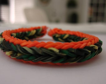 Camo and Orange Rainbow Loom Cross Quadfish - Silicone Camo Bands