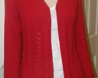 "Knitting Pattern - PLUS SIZE Really Fits Top Down Cardigan For All Seasons - Bust Size 48""- 56"""