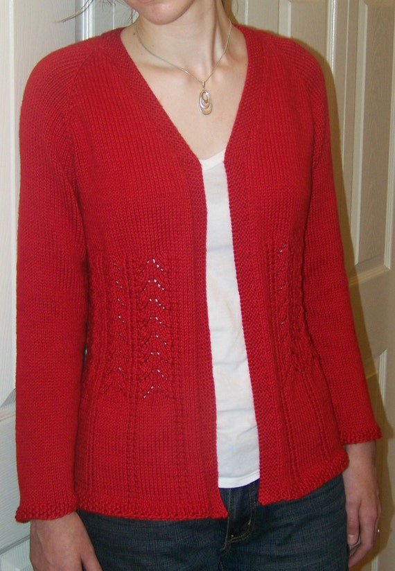 Plus Size Knitting Patterns : Knitting Pattern PLUS SIZE Really Fits Top Down Cardigan For