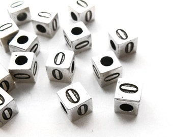 Silver Cube Number Beads, Number 0 Bead, Cube Number spacer Beads findings, For European charm bracelet, 7x7mm, 5 pcs